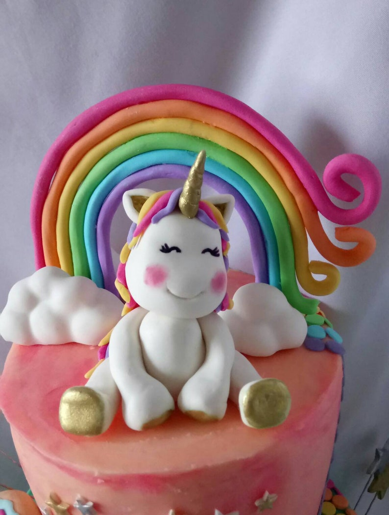 Smiling Unicorn And Rainbow Fondant Cake Topper Birthday