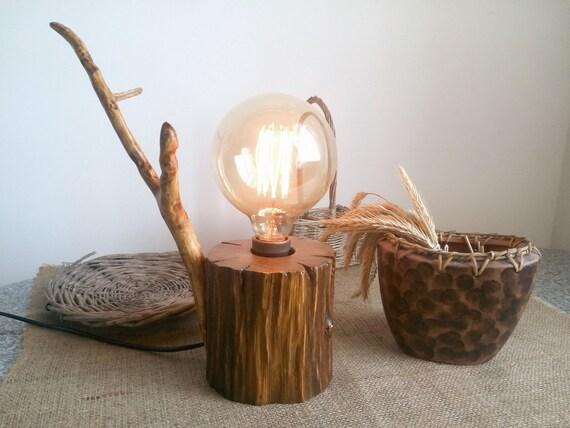 Trunk Lamp Wooden Lamp Handmade Lamp Natural Lamp Primitive Etsy
