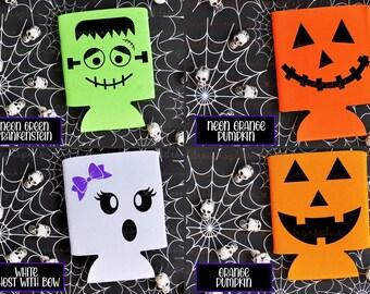 Halloween Face Can Cooler - Halloween Can Cooler / Beer Holder / Party Favor / Halloween Party / Halloween Beer Holder / Frankenstein