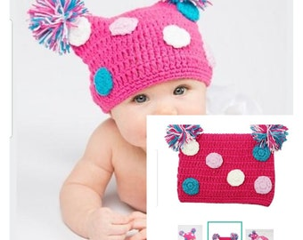 Hand knit baby girl hat