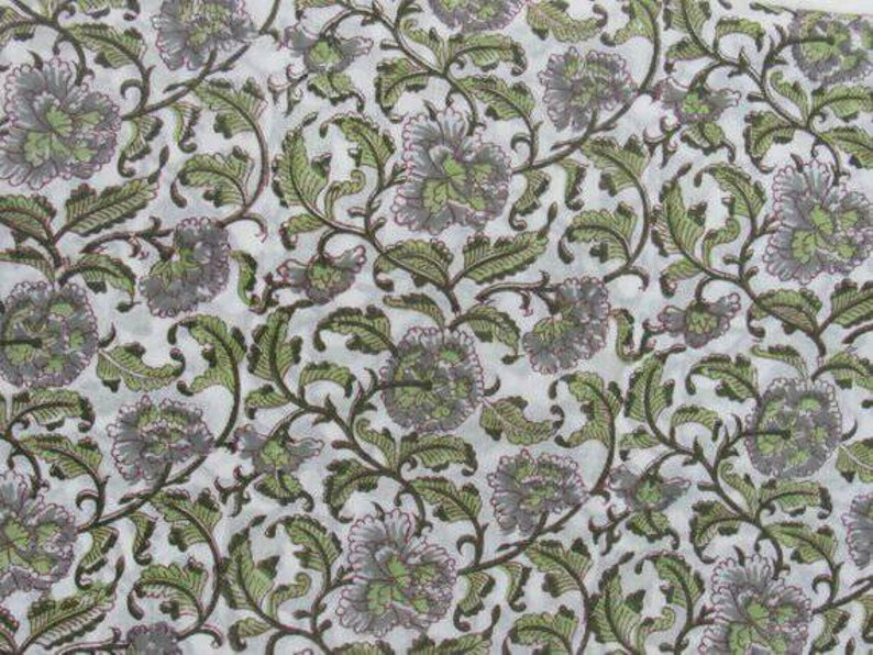 Indian Handblock Printed Pure Cotton fashion fabric 5 Yard Fabric