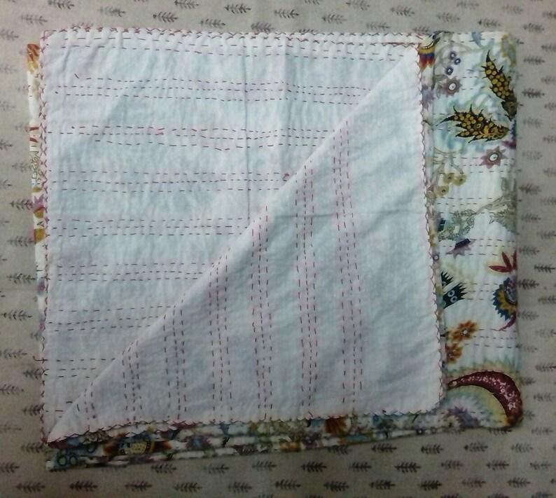 Indian bedspread Handmade floral kantha quilt gudri blanket Indian throw bedcover size multi