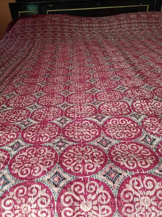coverlet blanket bedspread size New indian quilt handmade polka dot print kantha quilt gudri,bedcover multiple