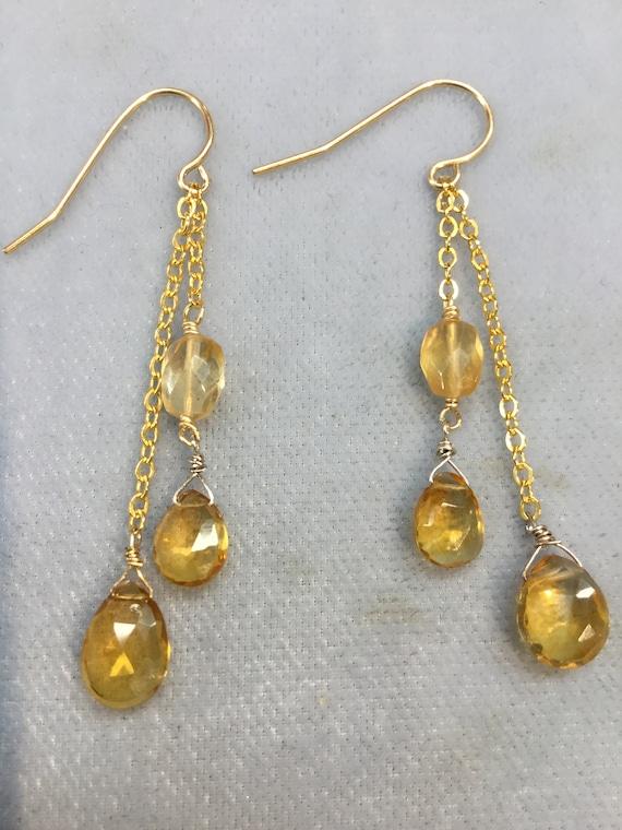 Wealth November Sagittarius Sterling Silver Citrine Facet Teardrop Earrings