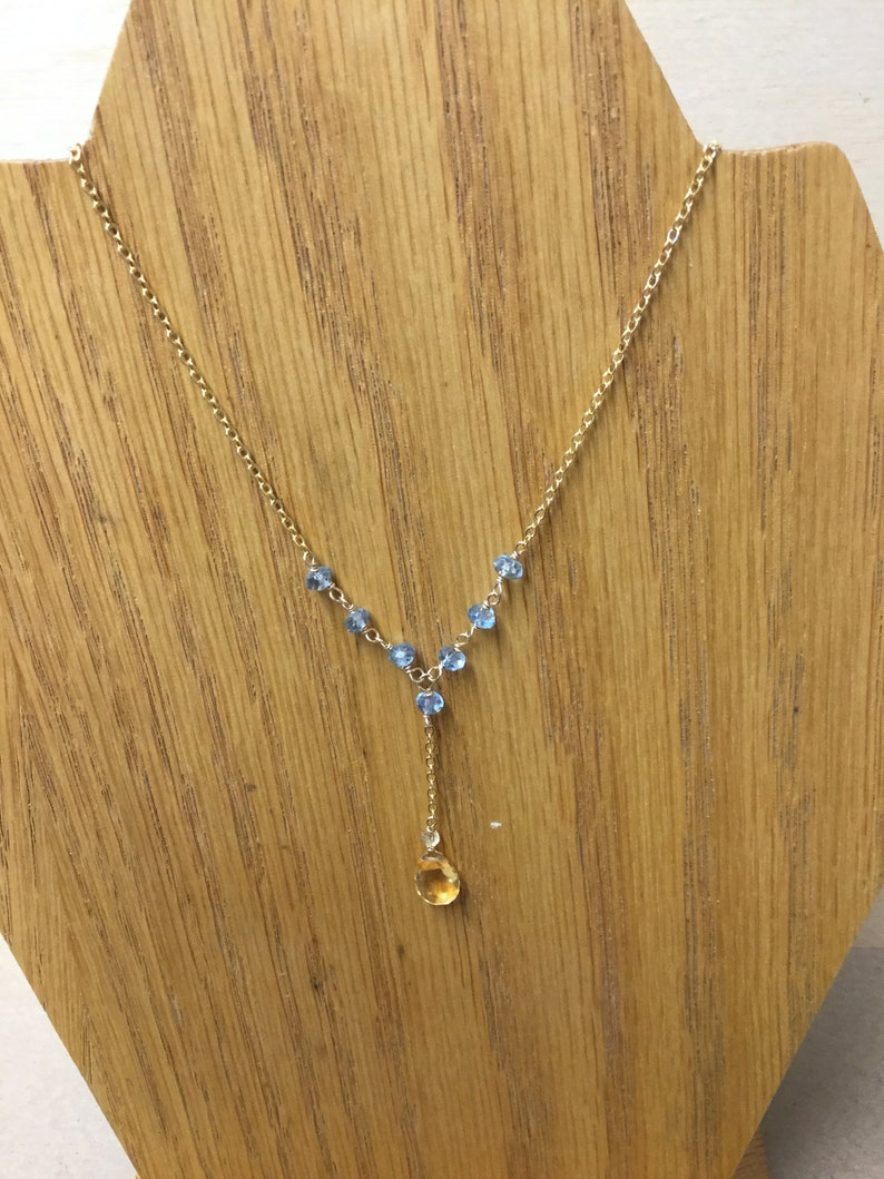 GoldFilled Scorpio and Sagittarius Y Necklace Citrine /& Blue Topaz November Birthstone Y Necklace