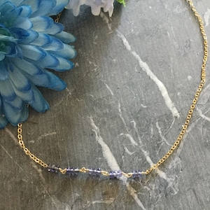 September Birthstone Choker Virgo /& Libra Sterling Chain with Drop Zodiac Jewelry IoliteWater Sapphire Briolette Drop Pendant Necklace