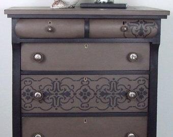 Vintage Six Drawer Tall Empire Dresser