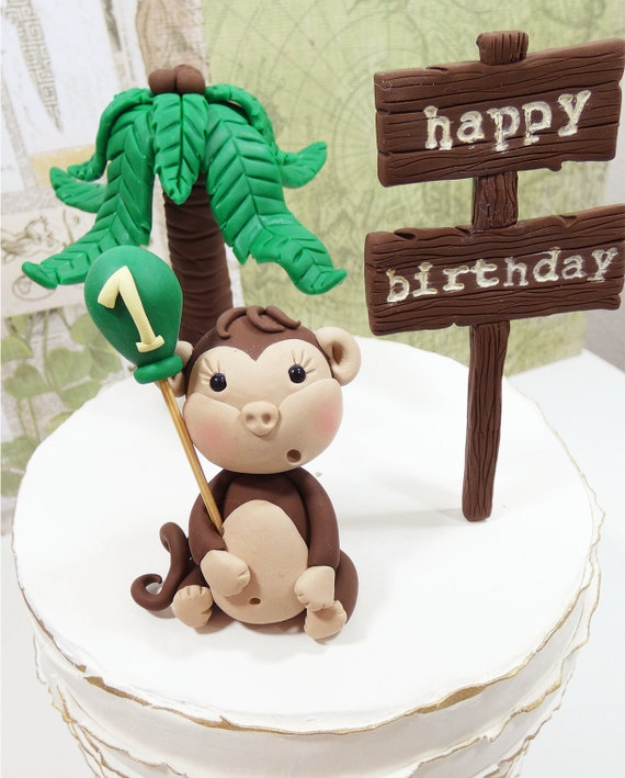 Surprising Monkey Cake Topper Safari Cake Topper Jungle Cake Topper Etsy Funny Birthday Cards Online Alyptdamsfinfo