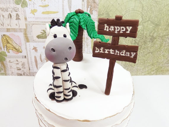 Super Zebra Cake Topper Safari Cake Topper Jungle Cake Topper Etsy Funny Birthday Cards Online Amentibdeldamsfinfo