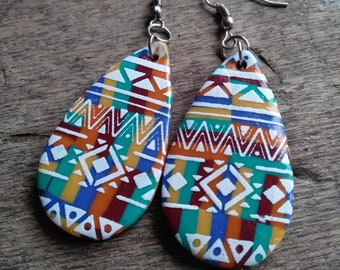 Large Aztec collection earrings in yellow, burgundy, blue, orange, green polymer paste