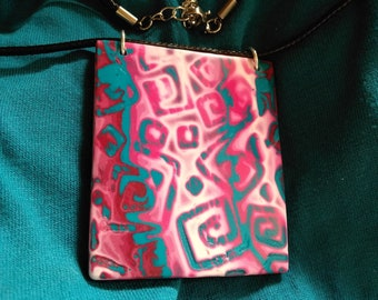 pink and blue rectangle of the neck from the Macha collection