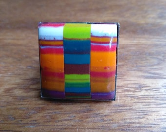 """Square ring """"Madras"""" in fimo, multicolored, mounted on silver support"""