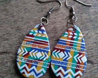 Small earrings from the Aztec collection in yellow, burgundy, blue, orange, green polymer paste