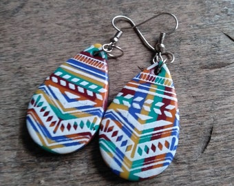 Small Aztec collection earrings in yellow polymer paste, border, blue, orange, green