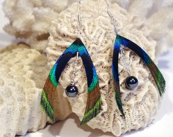 Earrings Peacock and magnetite