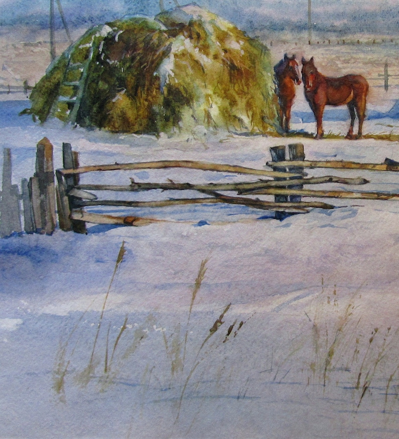 Original watercolor painting Haystacks in winter watercolor on paper 16 x 11.7 inches Winter landscape