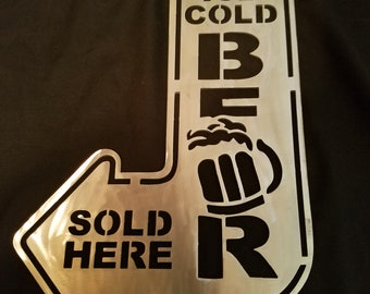 Ice Cold Beer sold here metal artwork decor