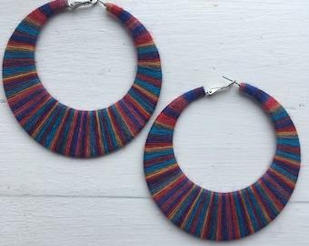 Handmade Large Rainbow Hoop Earrings