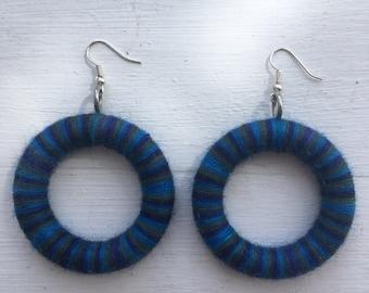 Thick Handmade Drop Hoop Earrings in Blue