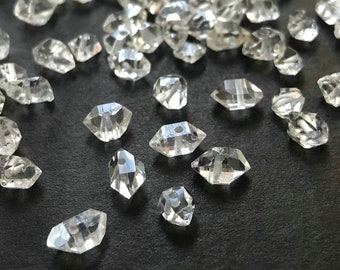 5mm - 8mm Water Clear Natural Raw Genuine Herkimer Diamond Quartz Crystal Double Terminated Beads Hole about 0.8mm