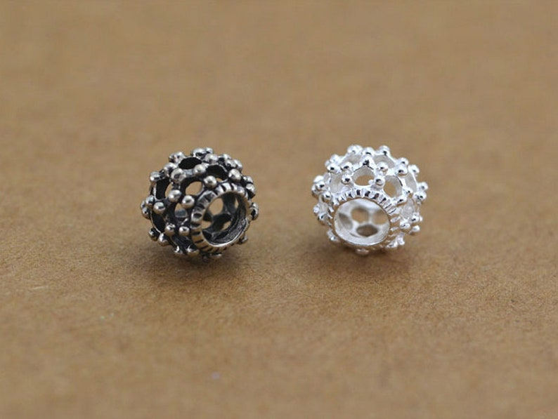 925 Sterling Silver Hollowed Beads Flat Bali Antique or Bright 925 Sterling Silver Knot Spacer Beads for Bracelet Jewelry Making