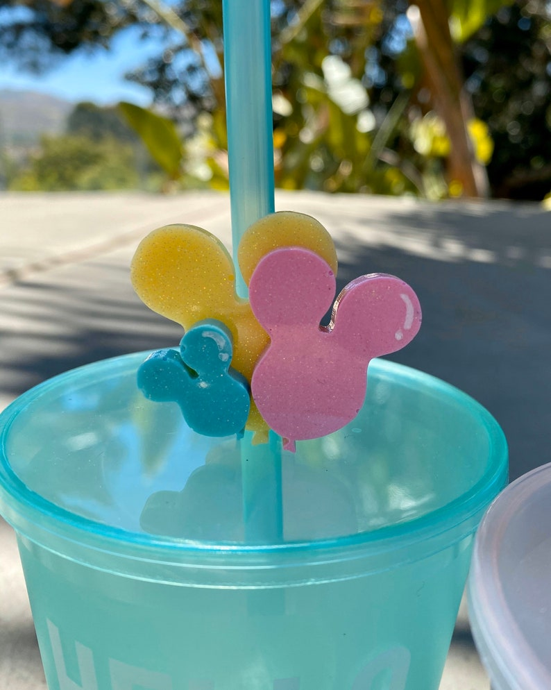 Mouse Head Balloon Straw Toppers  Resin Straw Topper