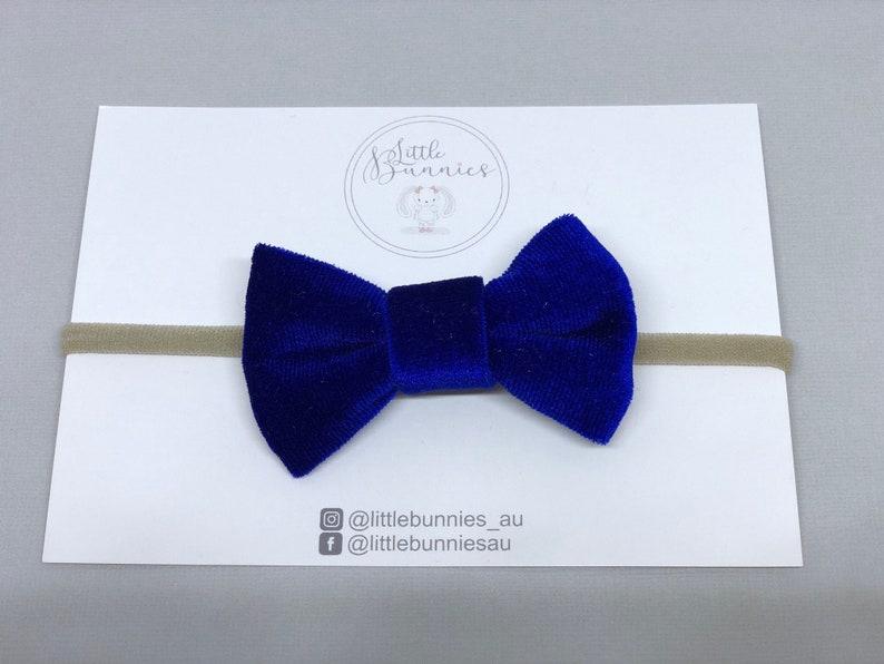 52563c7dd0ed Royal blue velvet Nylon Headband velvet headband kids bows | Etsy