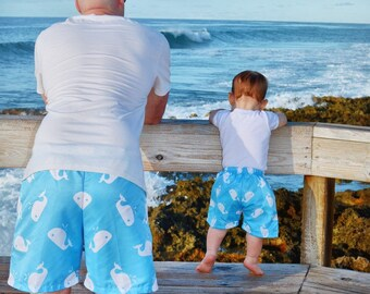 3514bdf191 Dad son whales swimsuits, father and son matching outfit, matching swimsuits  family, swim shorts boy, matching swimwear for men.