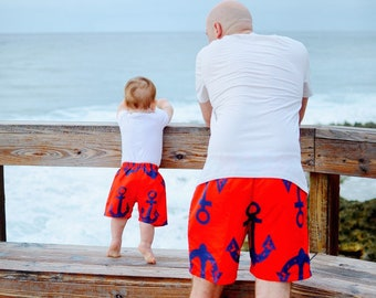 31945045ee Dad son anchors swimsuits, father and son matching outfit, matching  swimsuits family, swim shorts boy, matching swimwear for men.
