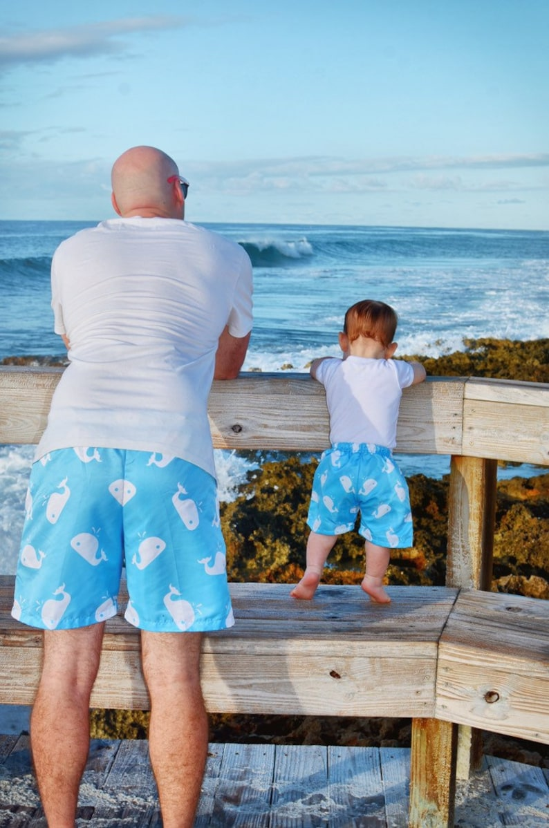 0e284f2cd0 Dad son whales swimsuits father and son matching outfit | Etsy
