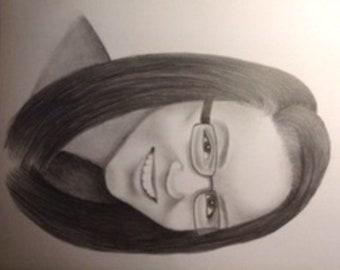 Custom drawn portrait from photo