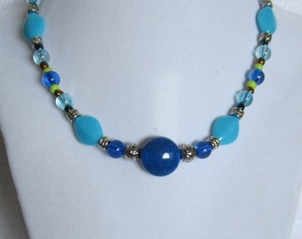 Blue and Teal Short Statement Necklace