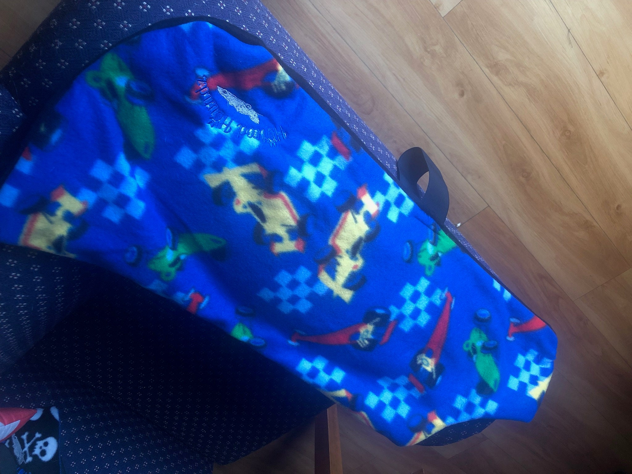 Racecar - dog coat - fleece - handmade -dog - coat dog wear - dog coat - - coat - blue - large dog afba61