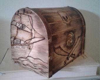Wood burned Pirate Treasure  Chest
