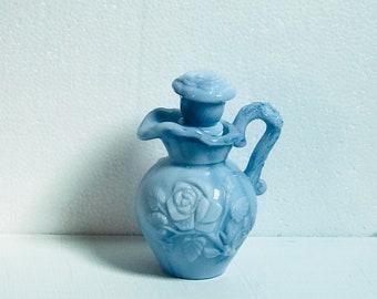 Vintage Avon May 1978 Miniature Pitcher Blue Milk Glass Rose Design