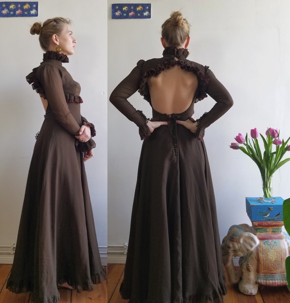 70s Jean Varon Maxi Dress. XS. Open Back, Ruffles,