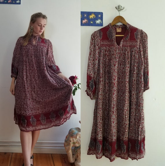 70s Indian Cotton Gauze Dress. Block Printed, Quil