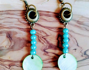 Pearl Blue and green beads