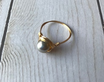 Wire Wrapped Ring | Pink and Gold | Ring | Handmade Ring