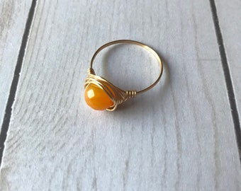 Wire Wrapped Ring | Yellow and Gold | Mustard Yellow | Ring | Handmade Ring