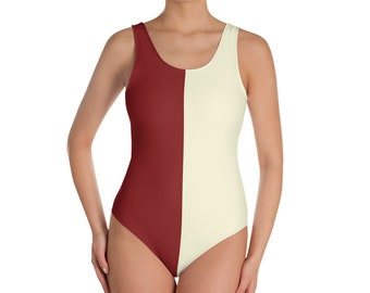 53c83158838c One-Piece Crimson and Cream Swimsuit/Bodysuit