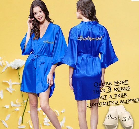 hot-selling cheap sale usa online exquisite craftsmanship Royal blue satin bridal robes, Custom Bridesmaid robes, Bridal party robes,  Personalized bridal robes, Bridesmaids robes, Custom Silk robe