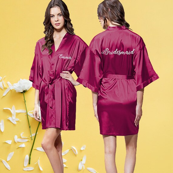 e70db35554 Wine red bridal robe Getting ready robes Custom robes