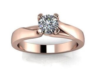 Graceful Wide Shank Diamond Solitaire 18Kt Gold Ring