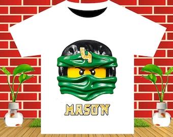 Ninjago, Ninjago Iron On Transfer, Ninjago Birthday Shirt DIY, Ninjago Party, Boy Birthday Shirt, Personalize Name, Digital File
