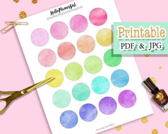 image about Printable Circle Labels named Watercolor Rainbow Circle Stickers Printable, 1.5 Circle Labels, Multi Colour Spherical Stickers for Planners, Publications, Sbooking Producing
