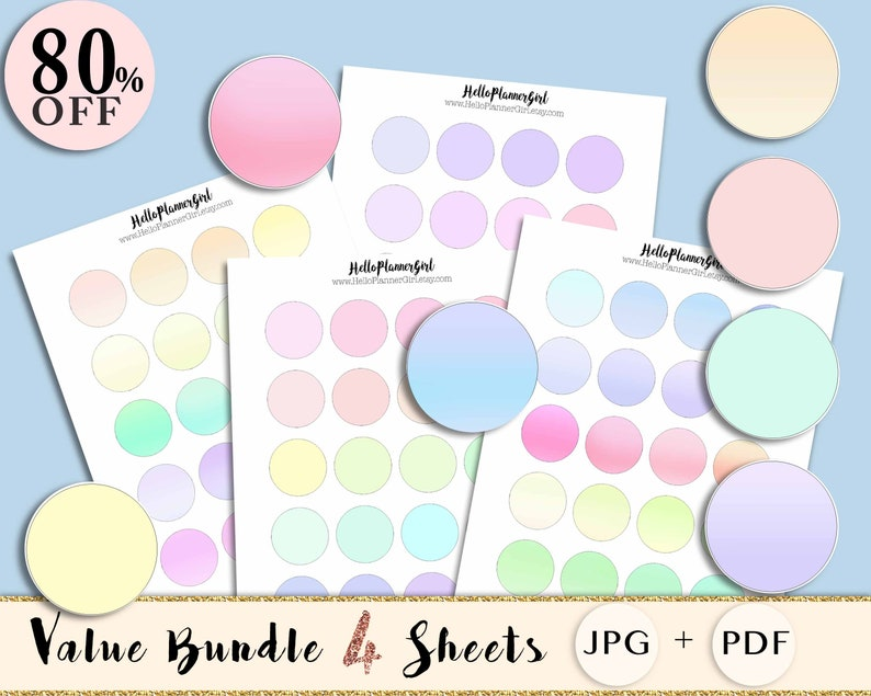 picture about Printable Circle Labels called Pastel Circle Stickers Package deal, Printable Circle Labels for Sbooking  Home made Products, 38mm Spherical Labels Blank /1.5 inches Circle Layouts