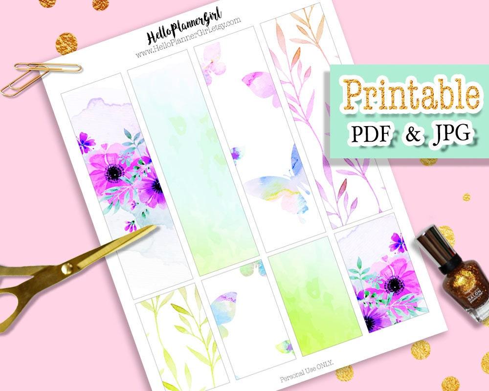 printable watercolor flower bookmark digital prints floral | etsy