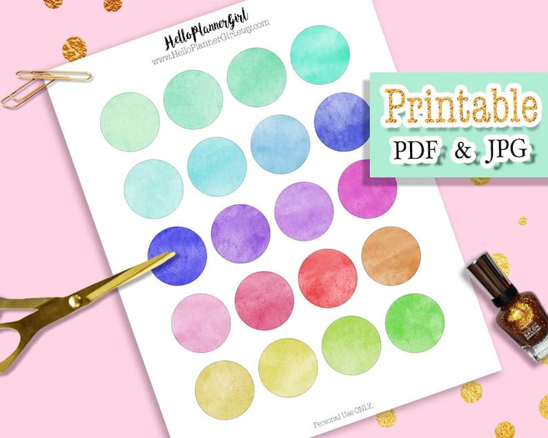 photo about Printable Circle Labels referred to as Multicolor Watercolor Circle Stickers Printable, 1.5 Circle Labels, Brilliant Coloration Spherical Labels for Planners, Magazines, Sbook, Reward Tags