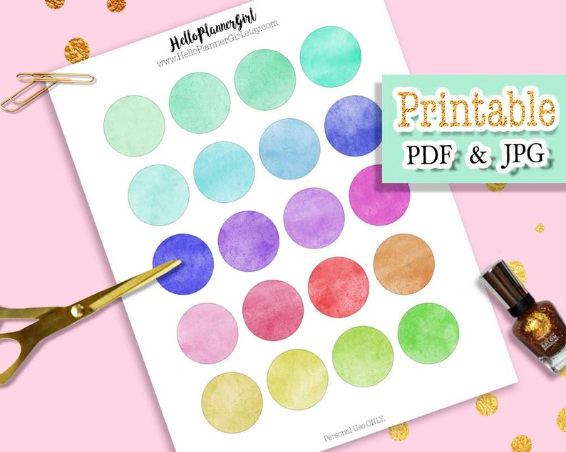 photo about Printable Circle Labels known as Multicolor Watercolor Circle Stickers Printable, 1.5 Circle Labels, Dazzling Coloration Spherical Labels for Planners, Publications, Sbook, Reward Tags